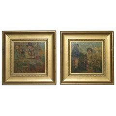 PAIR Dickensian Oil on Board Paintings
