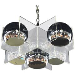 Lucite and Chrome Domes Mid-Century Modern Light Fixture