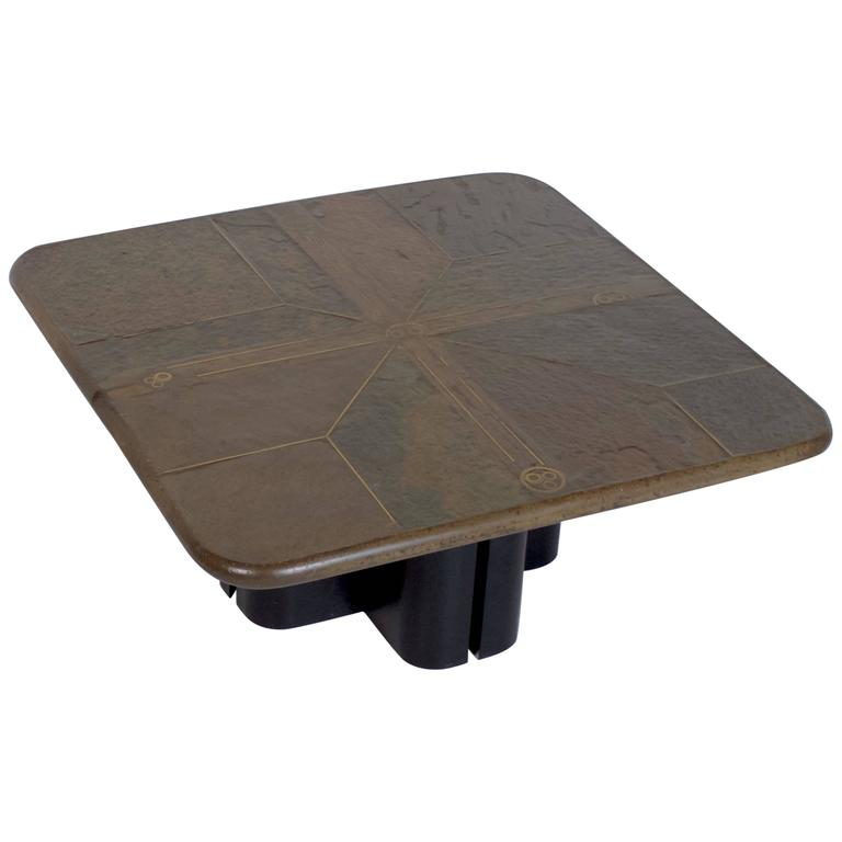 Slate And Glass Coffee Table For Sale: Brutalist Paul Kingma One-Off Coffee Table For Sale At 1stdibs