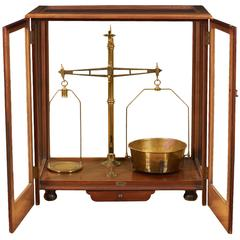 Large Cased Brass and Mahogany Balance by J.H. Heal Co.