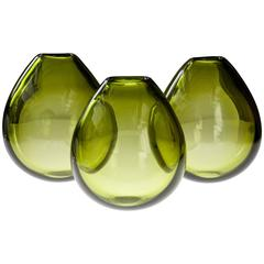 "Per Lütken for Holmegaard, Rare Set of 3 ""May Green"" Ovoid Vases"