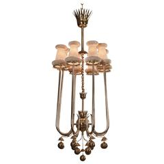 Pietro Chiesa for Fontana Arte, Silvered and Gilt Brass 8 Light Chandelier