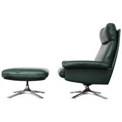 High Back Lounge Chair and Ottoman Model DS-31 by De Sede