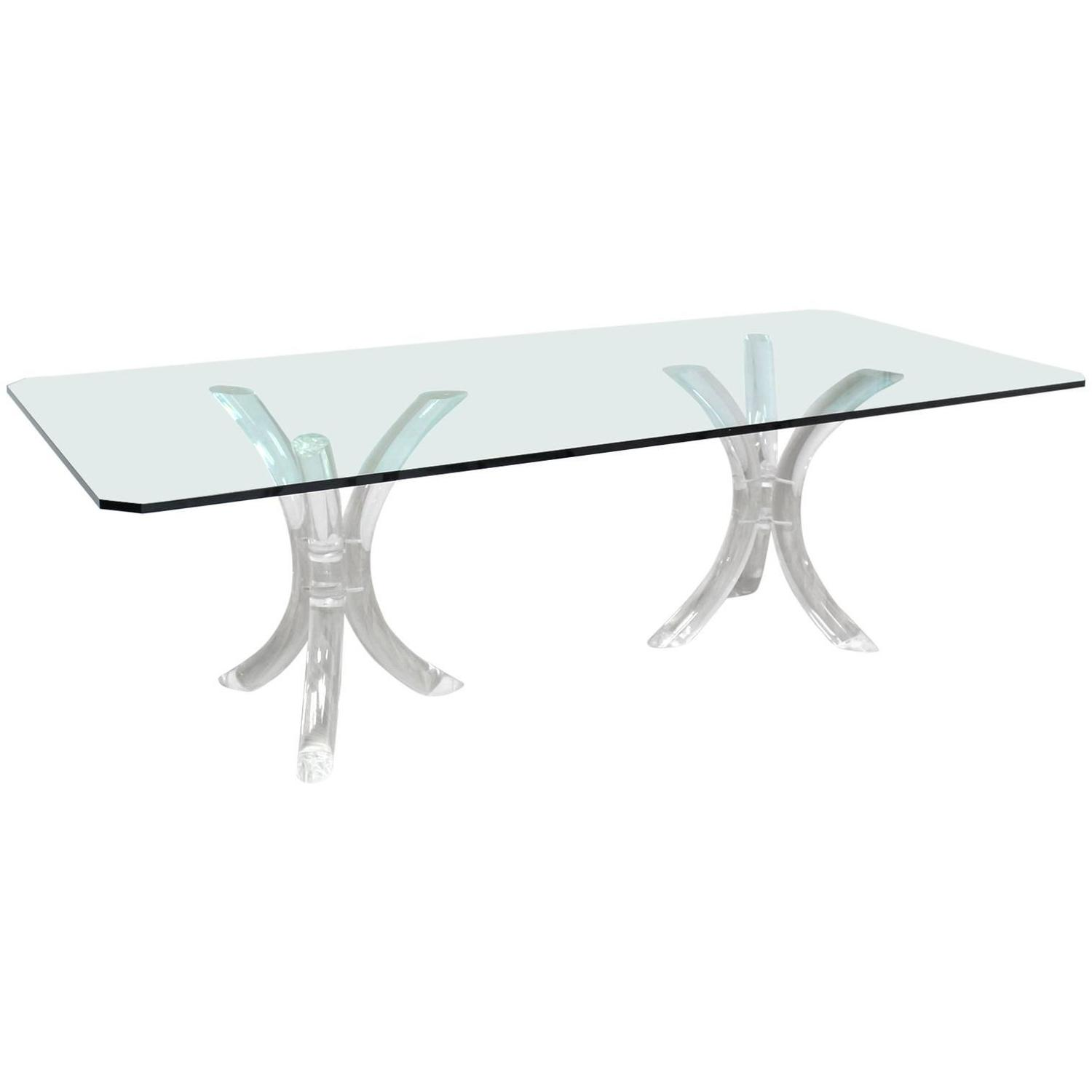 Large Glass Top Conference Table On Lucite Tusks Bases For Sale At 1stdibs