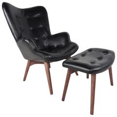 Mid-Century Style Wingback Lounge Chair with Ottoman