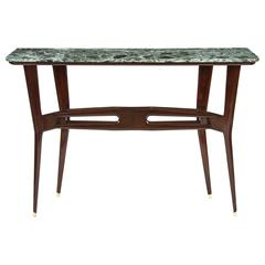 Italian Ebonzed Wood and Marble Topped Console Table, Mid 20th Century