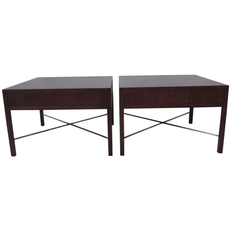 Rosewood and Brass End Tables