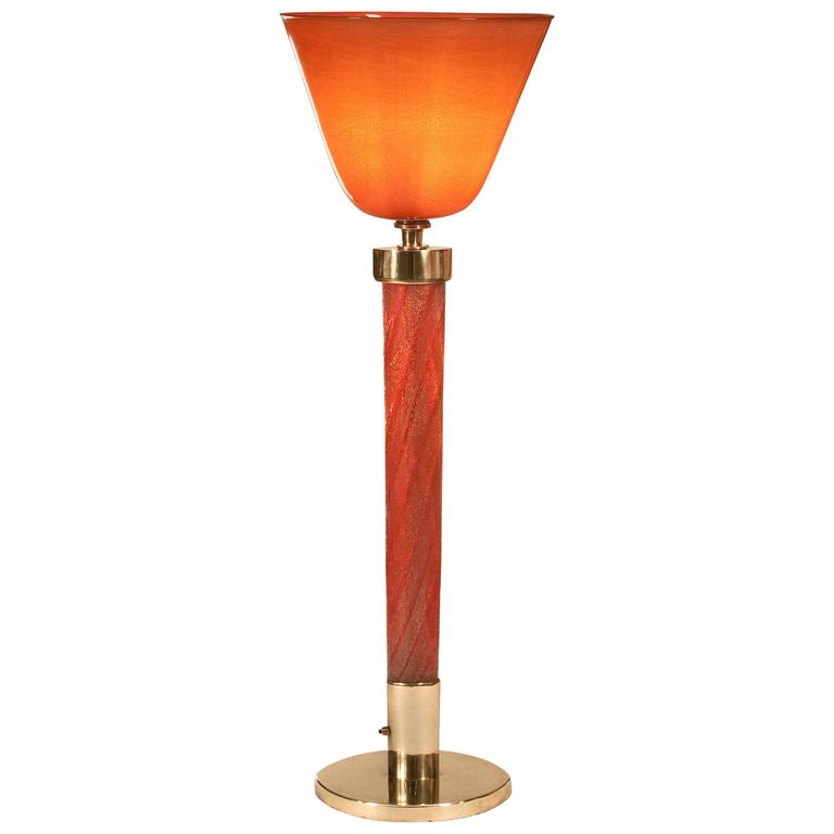 Tomaso Buzzi for Venini, Rare Laguna Glass and Brass Table Lamp, Model 505