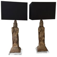 Patinated Plaster Asian Figures Made into Lamps on Lucite Stands