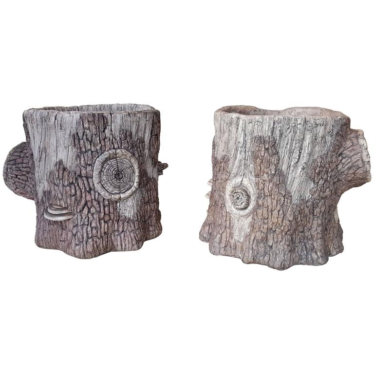 Large Companion Pair of Artisan Made Faux Bois Planters 1