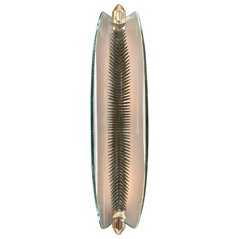 Pietro Chiesa for Fontana Arte, Brass, Etched and Silvered Bent Glass Sconce