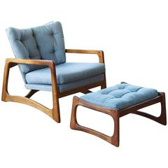 Walnut Lounge Chair and Ottoman by Adrian Pearsall