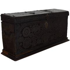 Italian Baroque Leather Covered and Brass Decorated Traveling Chest