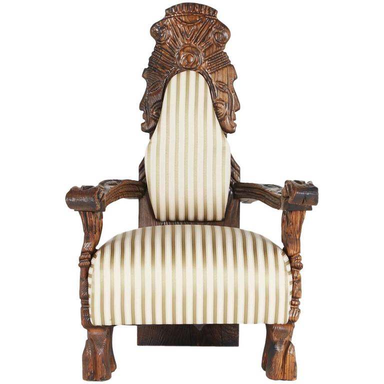 Ornate Tiki Throne Chair by William Westenhaver for WITCO