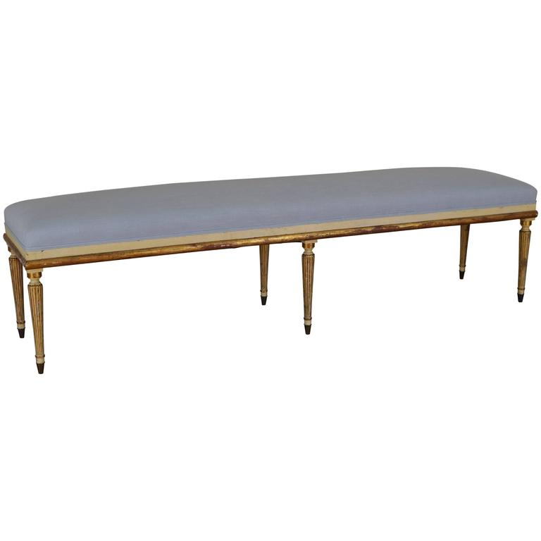 Italian giltwood painted and upholstered long bench at 1stdibs Long upholstered bench