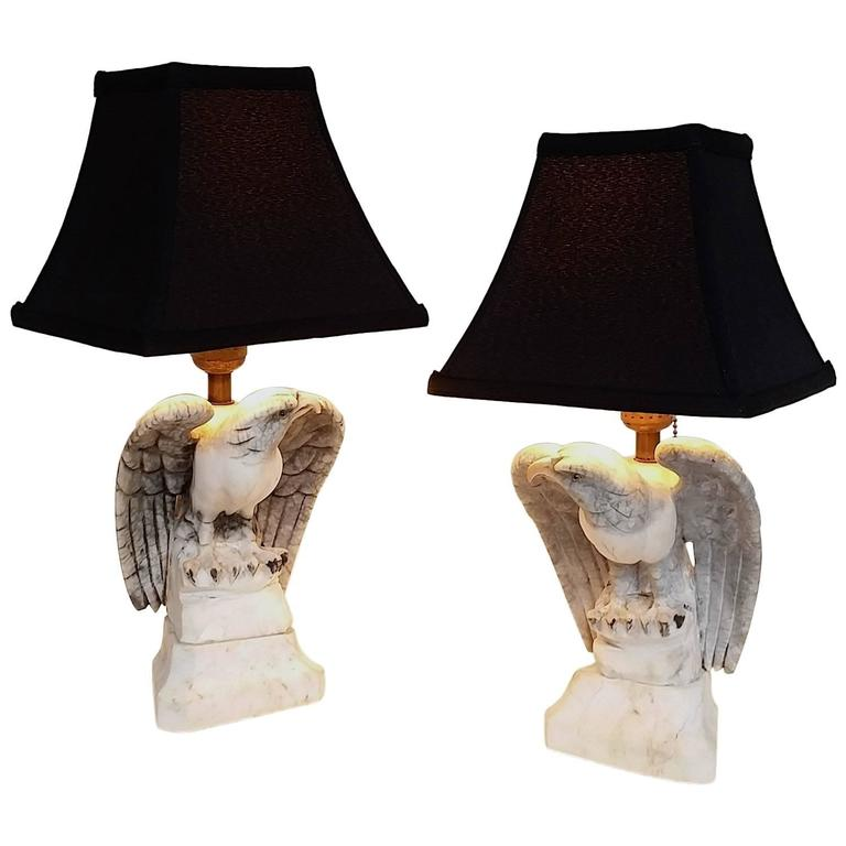 Pair Of Marble Eagle Lamps For Sale