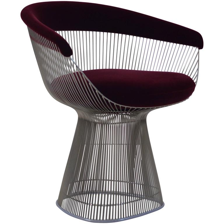 Nice Burgundy Velvet Warren Platner Wire Chair For Knoll For Sale