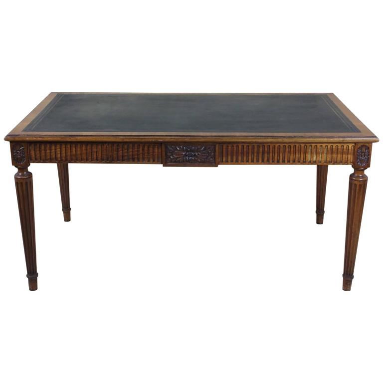 This antique french cherry side table is no longer available - Victorian Carved Walnut Leather Topped Library Table At