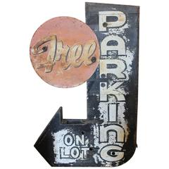 "1950s Pre-Neon Double-Sided ""Free Parking"" Sign"