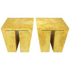 Pair of David Gulassa Studio Karelian Birch End Tables
