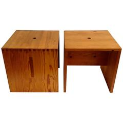 Pair of Custom-Made Side Tables, Style Pierre Chapo
