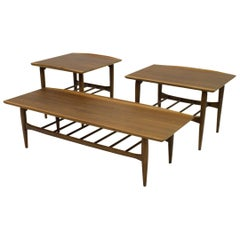 Suite of Three Danish Style Walnut Coffee and Occasional Tables