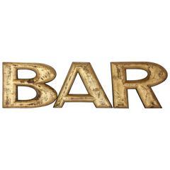 """1900s Gold Leaf Wood """"BAR"""" Sign"""