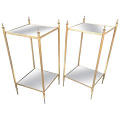 Maison Jansen Two Tiers Neoclassic Side Tables with Eglomisé Mirror Shelves