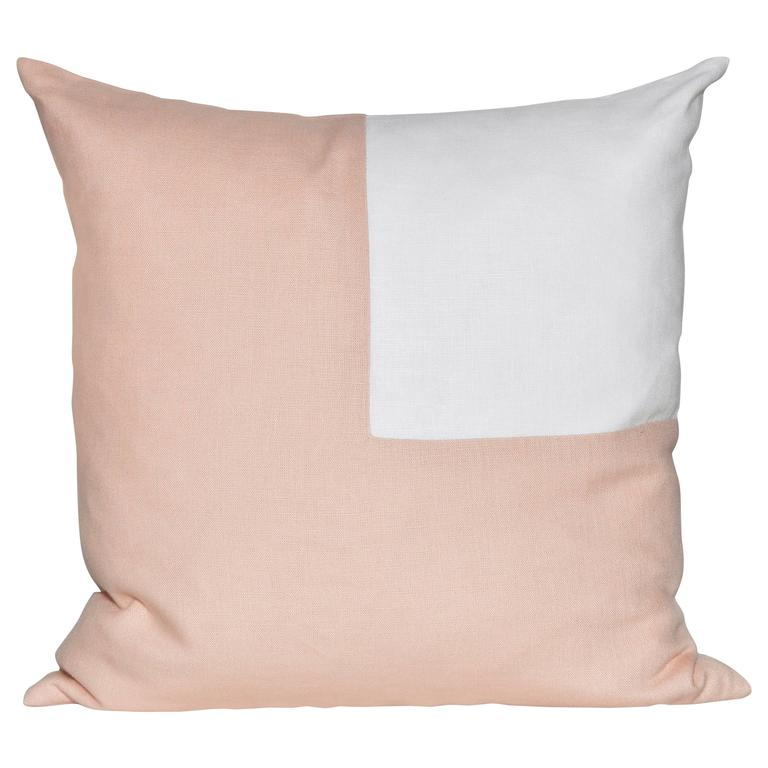 Large, Pink Peach and White Irish Linen Patchwork Cushion Geometric Pillow
