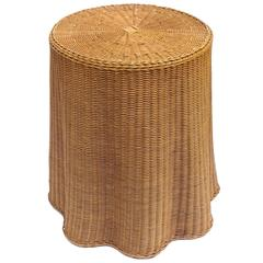 Sculptural 1970s Woven Draped Rattan End Table