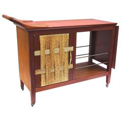 Rare 1950s Edmund Spence Walnut and Rattan Bar Cart
