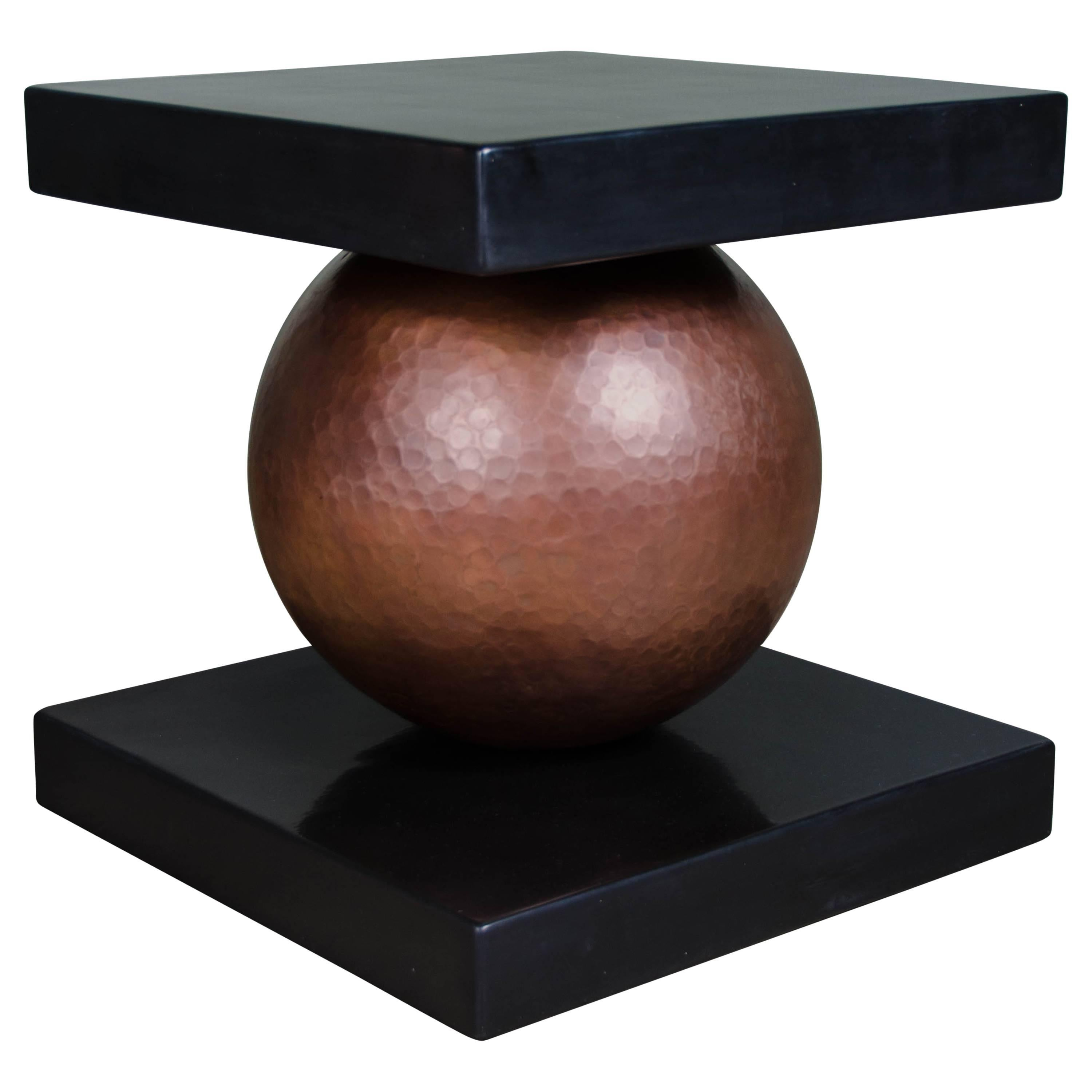 Copper Sphere Table with Square Lacquer Top by Robert Kuo, Limited Edition