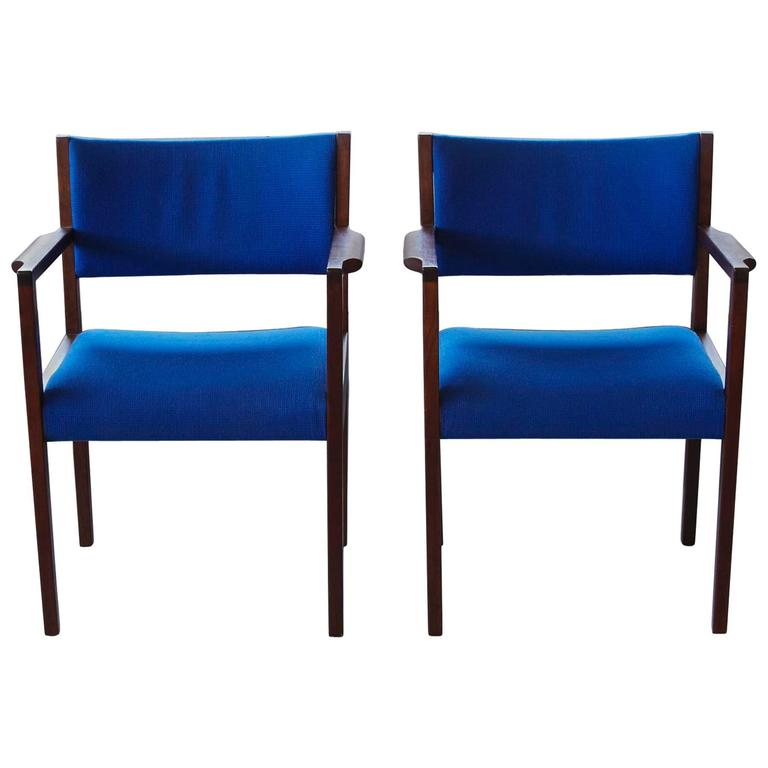 Pair Of Cobalt Blue Jens Risom Dining Side Chairs With