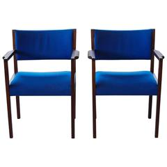 Pair of Cobalt Blue Jens Risom Dining/Side Chairs with Arms