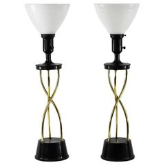 Pair of 1950s Twisted Brass Table Lamps
