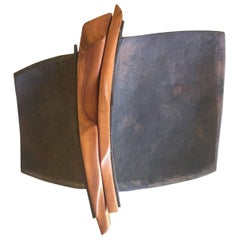 Unique Primitive Iron and Wood Tray
