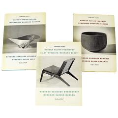 Rare 1950s Three Volume Set of Danish Ceramic, Silver and Furniture Design Books