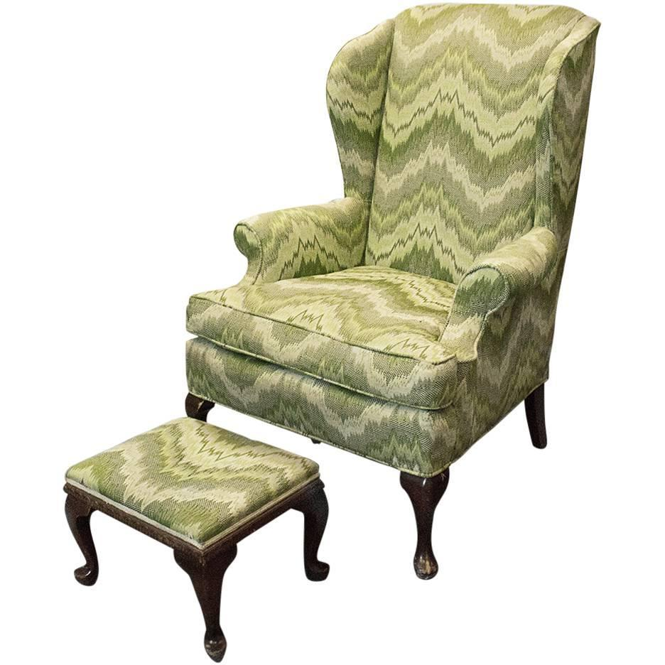 Queen Anne Style Wingback Chair For Sale at 1stdibs