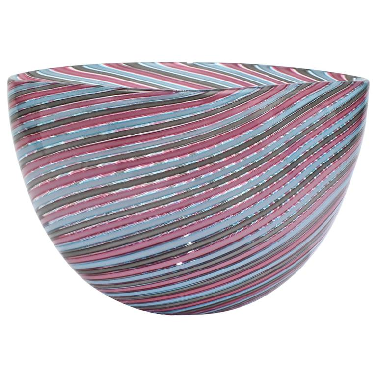 "Large Cenedese Pink Blue and Gray ""Filigrana"" Murano or Venetian Art Glass Bowl"