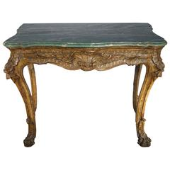 "Early 18th Century Italian Roman Console, ""Mecca Gold"" Silver Leaf and Malachite"