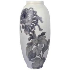 Early 20th Century Royal Copenhagen Porcelain Vase with a Large Chrysanthemum