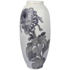 Early 20th Century Royal Copenhagen Porcelain Vase with a Large Chrysanthemum
