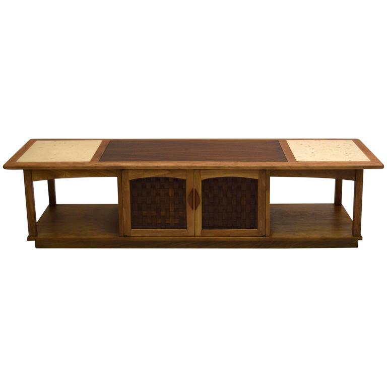 Large Walnut and Ash Media Console or Cocktail Table with Travertine