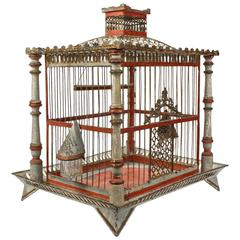 19th Century Painted Tole and Wood Bird Cage with Old Paint