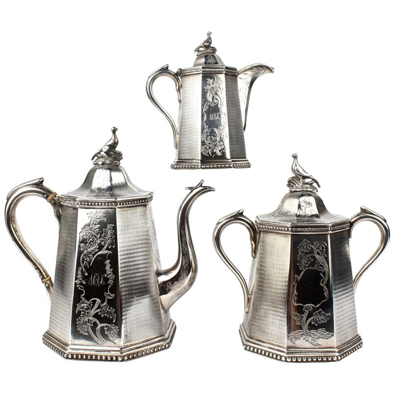 19th Century Wood and Hughes New York Coin Silver Tea Set For Sale