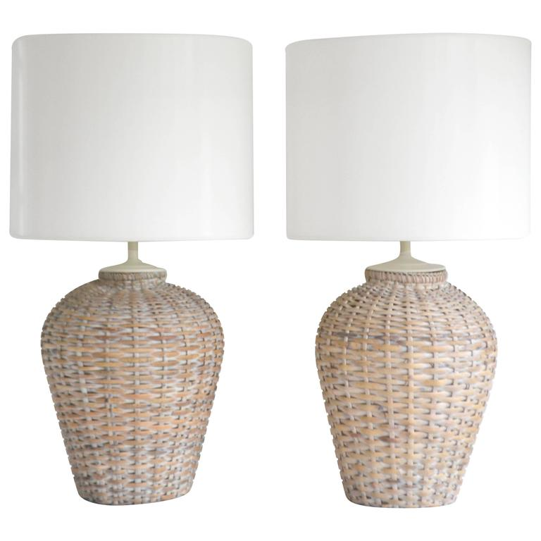 Woven Basket Lamp : Pair of mid century woven rattan basket form table lamps