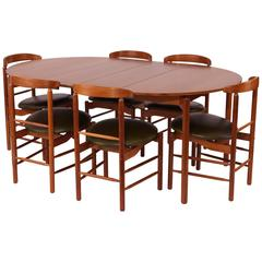 Stunning Greta Grossman Walnut and Leather Dining Chairs and Table