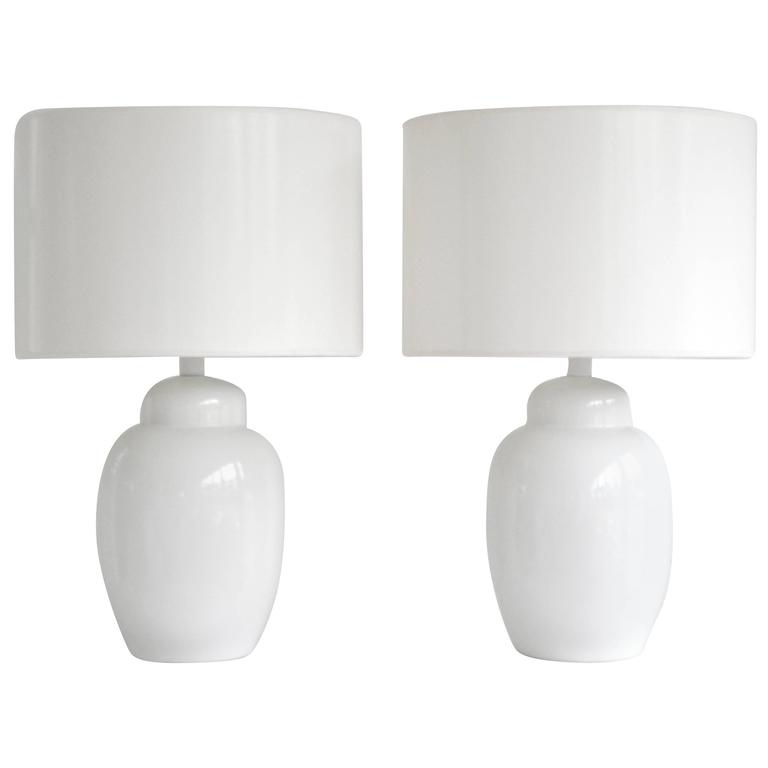 Pair of Mid-Century Blanc de Chine Ginger Jar Form Table Lamps