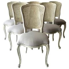 Set of Six French LXV Style Chairs with Cane Back