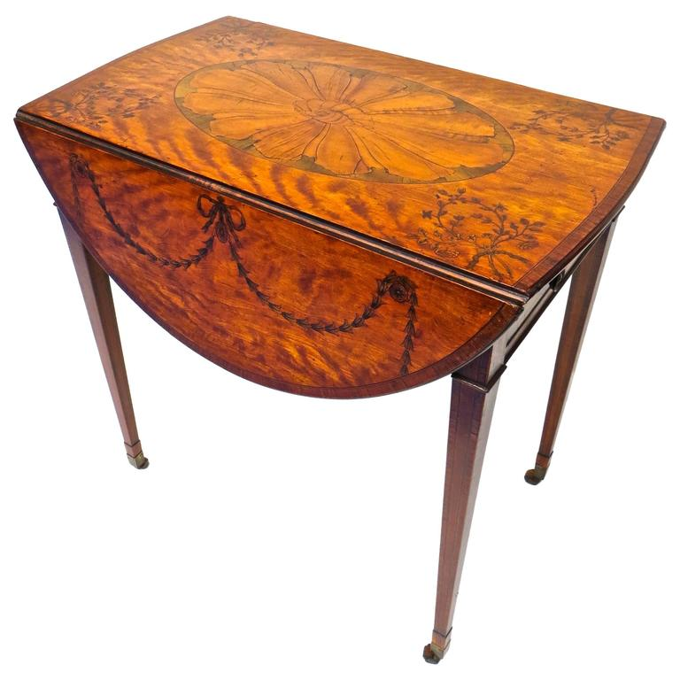 George III Marquetry Inlaid Pembroke Table Attributed to Mayhew and Ince For Sale